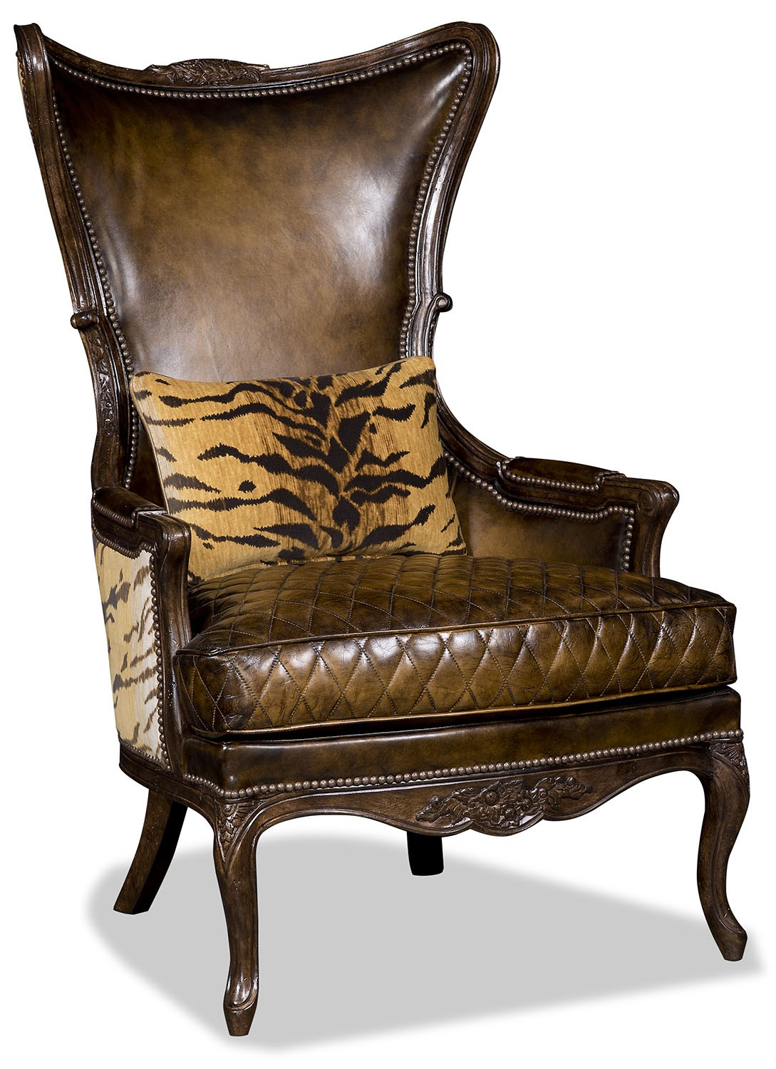Elegant Leather and Tiger Print Arm Chair