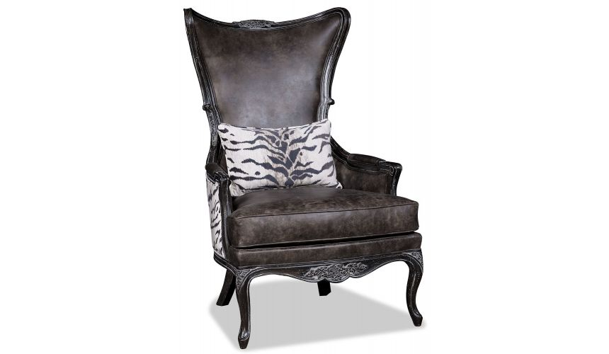 CHAIRS, Leather, Upholstered, Accent Elegant Charcoal Arm Chair