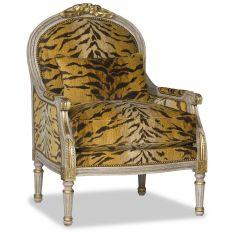 Luxurious Gold Tiger Print Arm Chair