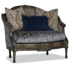 Fancy Cold Blue Patterned Love Seat