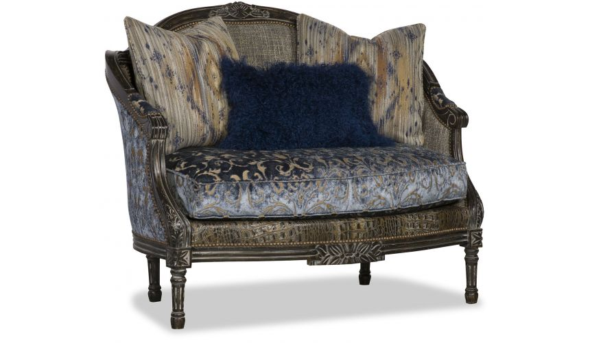 SETTEES, CHAISE, BENCHES Fancy Cold Blue Patterned Love Seat