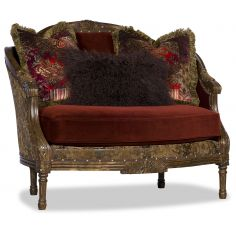 Fancy Red Cinnamon and Gold Love Seat
