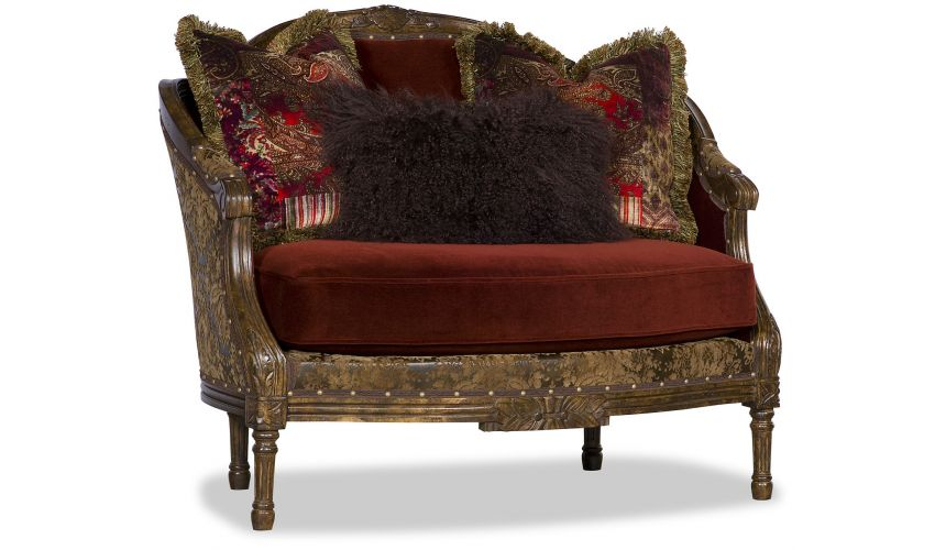 SETTEES, CHAISE, BENCHES Fancy Red Cinnamon and Gold Love Seat