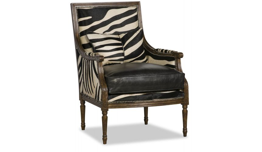 CHAIRS, Leather, Upholstered, Accent Chic Black and White Hair on Hide Chair