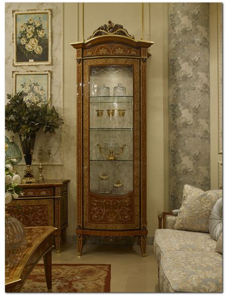 Breakfronts & China Cabinets Luxurious Glass Cabinet from our Venetian modern classic collection 7015