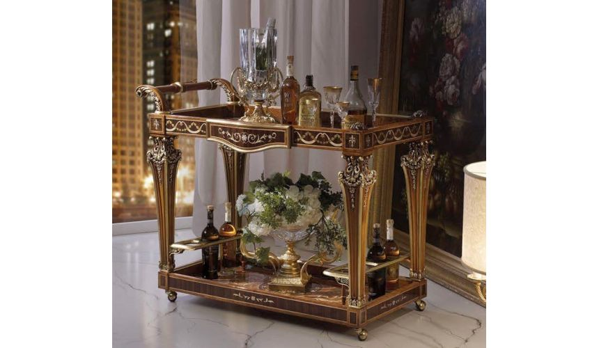 Upscale Bar Furniture Royal and Luxurious Bar Cart from our Venetian modern classic collection 7025