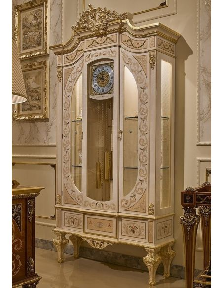 Breakfronts & China Cabinets Angelic Grandfather Clock and Showcase Cabinet from our Venetian modern classic collection 7019