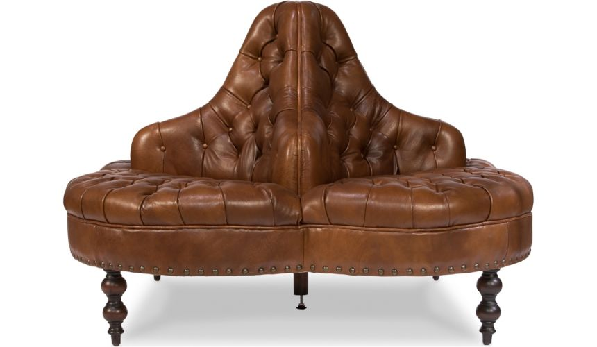 Luxury Leather & Upholstered Furniture Round 4 Seater Lobby Sofa