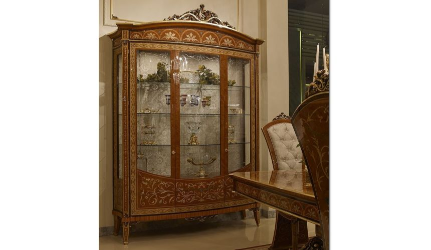 Breakfronts & China Cabinets Grand and Luxurious Large Glass Display Case from our Venetian modern classic collection 7043
