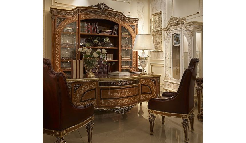 Executive Desks High End Luxurious Library Desk and Display Case from our Venetian modern classic collection 7043