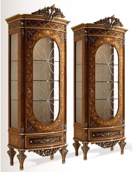 Breakfronts & China Cabinets High End Wood Tall Glass Display Case from our Venetian modern classic collection 7052