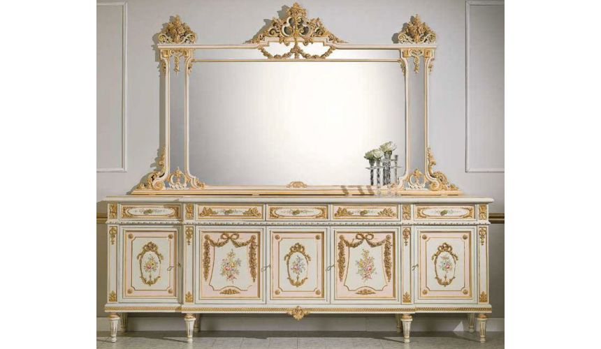 Breakfronts & China Cabinets High End Dresser and Mirror from our European hand painted furniture collection. 7036