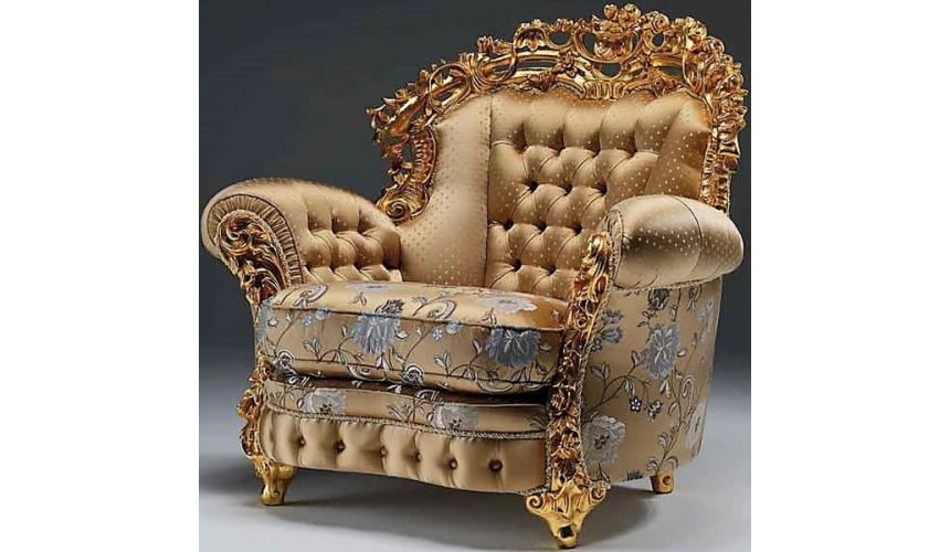 CHAIRS, Leather, Upholstered, Accent Luxurious Golden Accent Chair from our European hand painted furniture collection. 7072