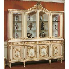 Antique Looking Grand Showcase Cabinet our European hand painted furniture collection. 7075