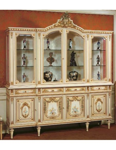 Breakfronts & China Cabinets Antique Looking Grand Showcase Cabinet our European hand painted furniture collection. 7075