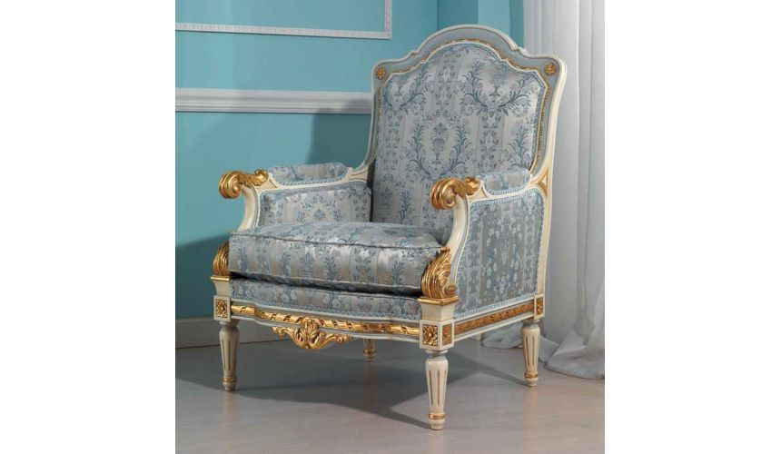 CHAIRS, Leather, Upholstered, Accent Royal Gold and Sky Blue Armchair from our European hand painted furniture collection. 7084