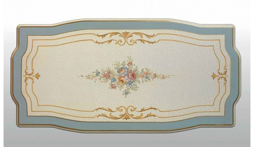 Rectangular and Square Coffee Tables Antique-looking Pastel Oval Central Table from our European hand painted furniture colle...