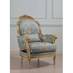 Winter Blue and Summer Gold Armchair from our European hand painted furniture collection. 7086