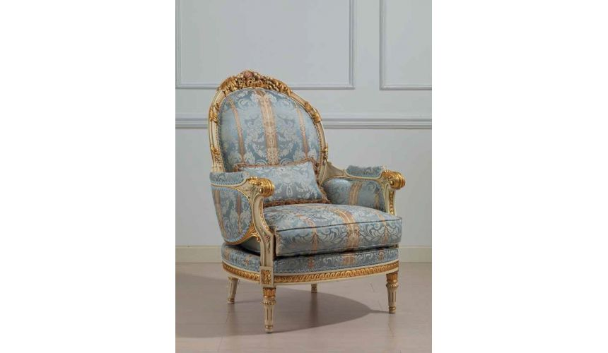 CHAIRS, Leather, Upholstered, Accent Winter Blue and Summer Gold Armchair from our European hand painted furniture collection...