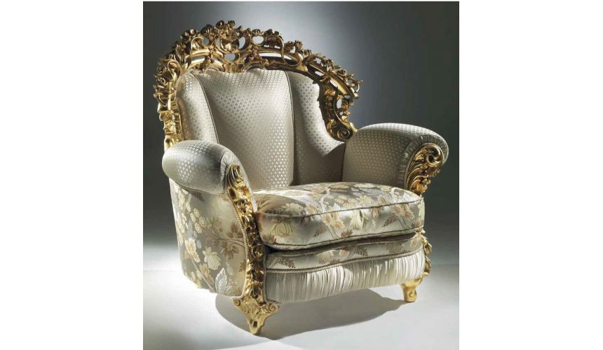 CHAIRS, Leather, Upholstered, Accent Extravagant Floral Cloud Armchair from our European hand painted furniture collection. 7088