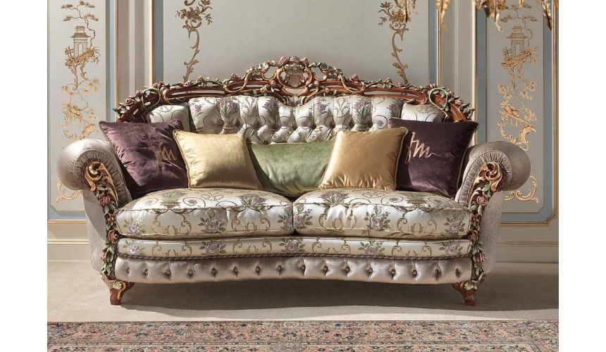 SOFA, COUCH & LOVESEAT Deluxe Sparkling Champagne Sofa from our European hand painted furniture collection. 7089