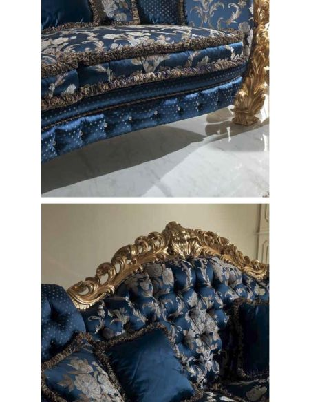 SOFA, COUCH & LOVESEAT Lavish Floral Deep Ocean Sofa from our European hand painted furniture collection. 7090