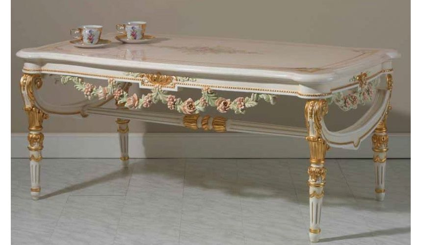 Rectangular and Square Coffee Tables Extravagant Pastel Floral Center Table from our European hand painted furniture collecti...