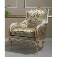 Deluxe Floral Champagne Armchair from our European hand painted furniture collection. 7093