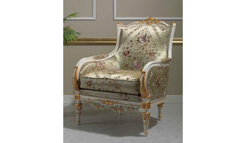 CHAIRS, Leather, Upholstered, Accent Deluxe Floral Champagne Armchair from our European hand painted furniture collection. 7093