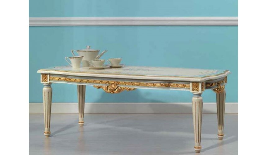 Rectangular and Square Coffee Tables Heavenly Cream and Golden Central Table from our European hand painted furniture collect...