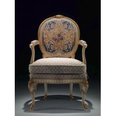 Antique-looking Floral Cabriolet Armchair from our European hand painted furniture collection. 7097