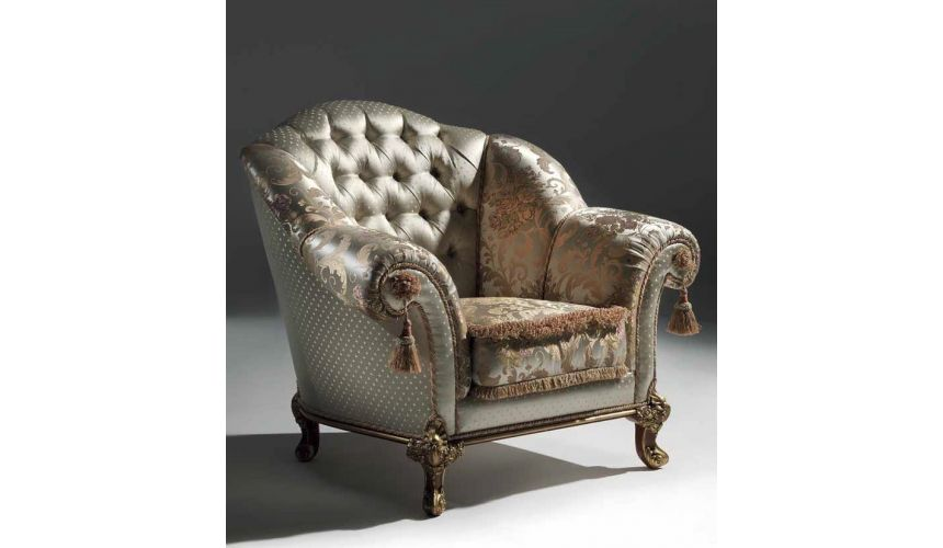 CHAIRS, Leather, Upholstered, Accent Luxurious Golden Pearl Armchair from our European hand painted furniture collection. 7099