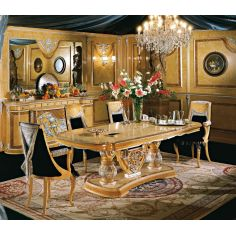 The grand dining table and set is a classical look