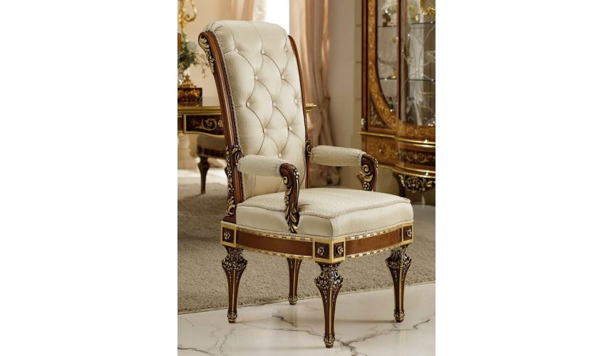 Dining Chairs Royal High End Ivory Head Dining Chair from our Venetian modern classic collection 7051
