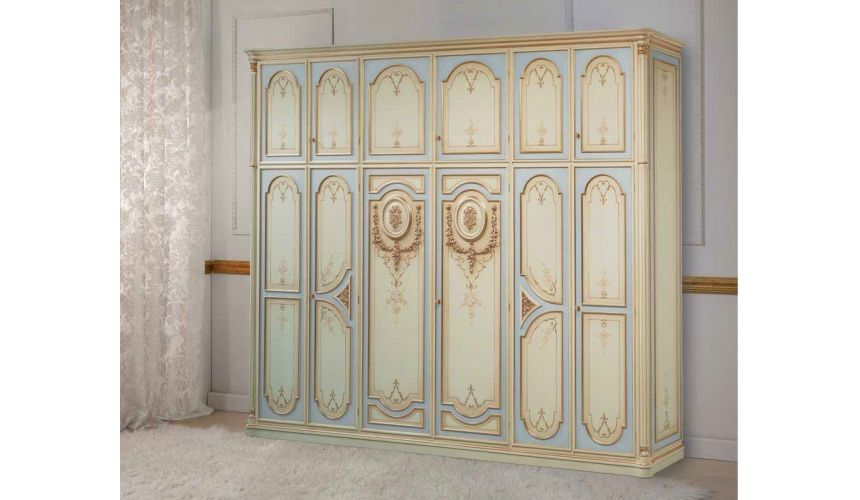 Display Cabinets and Armories Luxurious Winter Blues and Creams Wardrobe from our European hand painted furniture collection....
