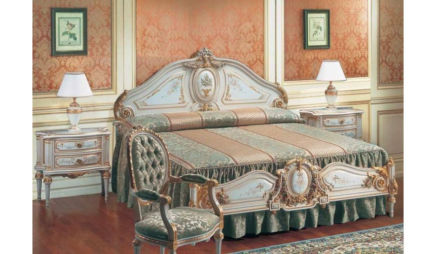 Luxury Bedroom Furniture Angelic Pure as Gold Bed from our European hand painted furniture collection. 7121
