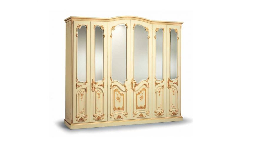 Display Cabinets and Armories Warm Cream and Golden Wardrobe from our European hand painted furniture collection. 7128
