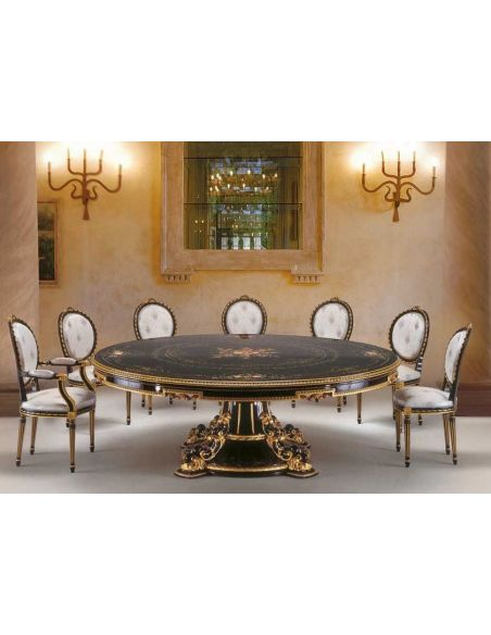 Dining Tables Black and White Dining Set from our European hand painted furniture collection. 7130