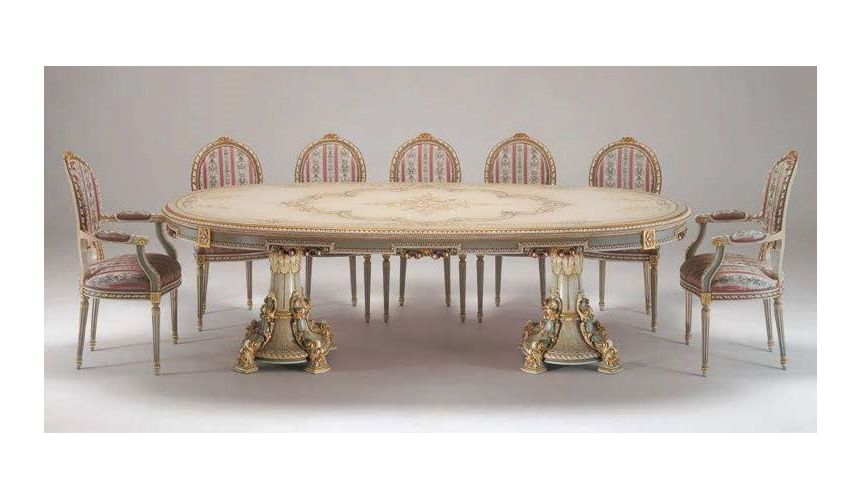Dining Tables Deluxe White Chocolate Dining Set from our European hand painted furniture collection. 7132