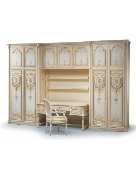 Display Cabinets and Armories Angelic Pure as Gold Desk and Cabinets from our European hand painted furniture collection. 7123