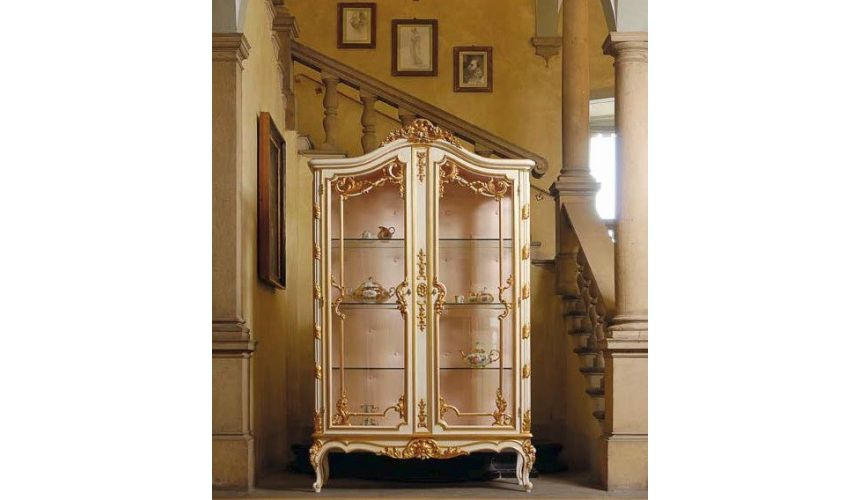 Breakfronts & China Cabinets Luxurious Golden Detailed Showcase Cabinet from our European hand painted furniture collection. ...