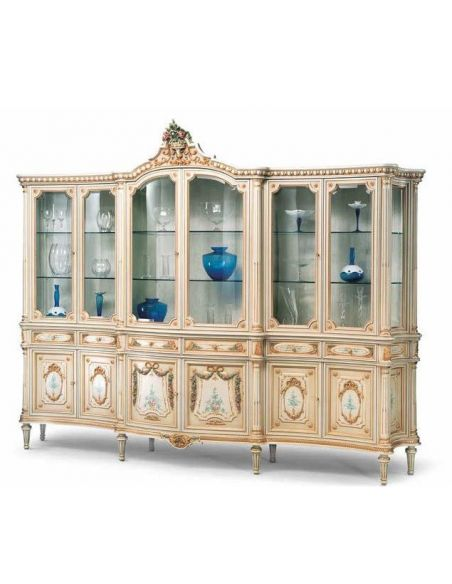 Breakfronts & China Cabinets Cream and Golden Showcase Cabinet from our European hand painted furniture collection. 7116