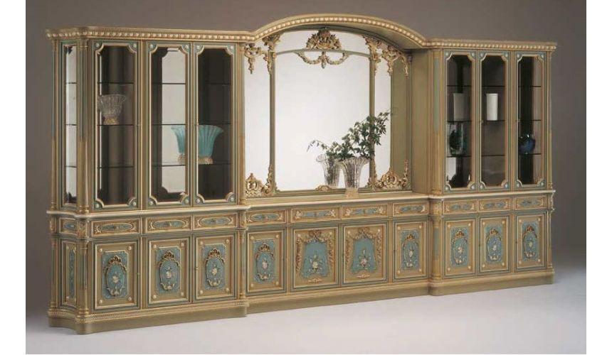 Breakfronts & China Cabinets Deluxe Poseidon's Castle Showcase Cabinet from our European hand painted furniture collection. 7115