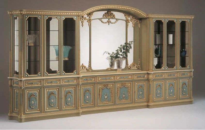 Breakfronts U0026 China Cabinets Deluxe Poseidonu0027s Castle Showcase Cabinet From  Our European Hand Painted Furniture Collection