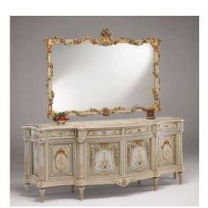 Antique-looking Floral Bureau and Mirror from our European hand painted furniture collection. 7113