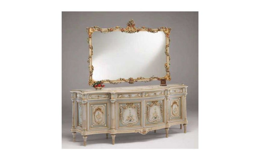 Breakfronts & China Cabinets Antique-looking Floral Bureau and Mirror from our European hand painted furniture collection. 7113