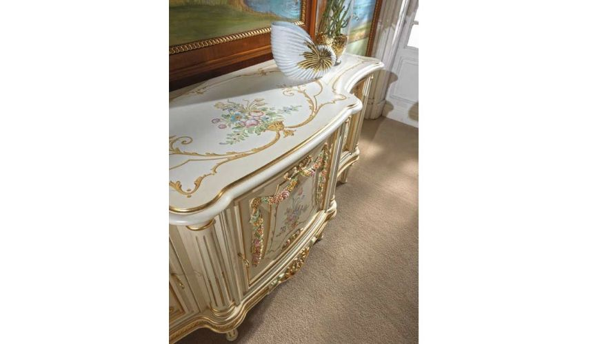 Breakfronts & China Cabinets Deluxe Pastel and Golden Cabinet from our European hand painted furniture collection. 7112