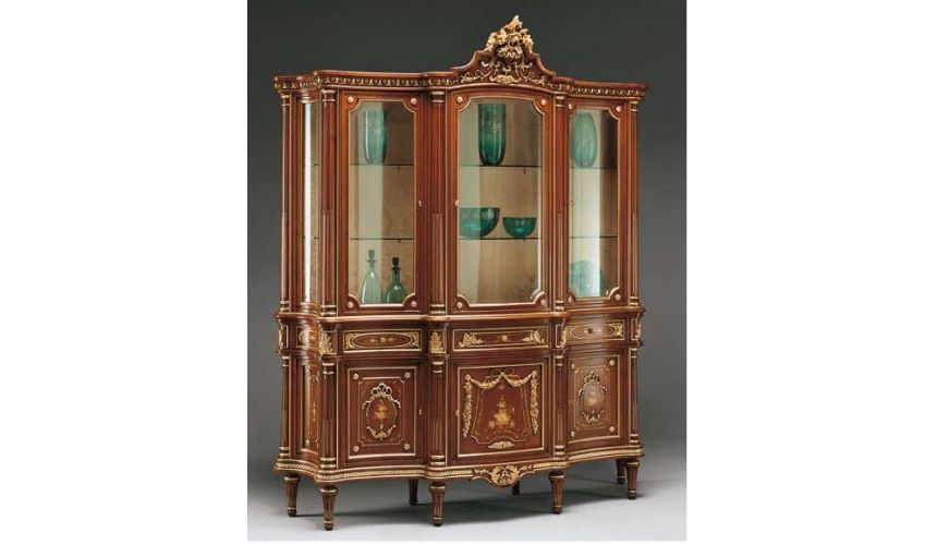 Breakfronts & China Cabinets Deluxe Showcase Cabinet with Golden Detail from our European hand painted furniture collection. ...
