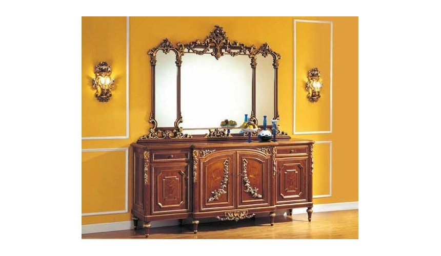 Breakfronts & China Cabinets Golden Detailed Bureau and Mirror from our European hand painted furniture collection. 7105