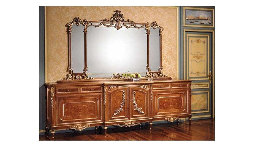Breakfronts & China Cabinets High End Golden Bureau and Mirror with from our European hand painted furniture collection. 7103